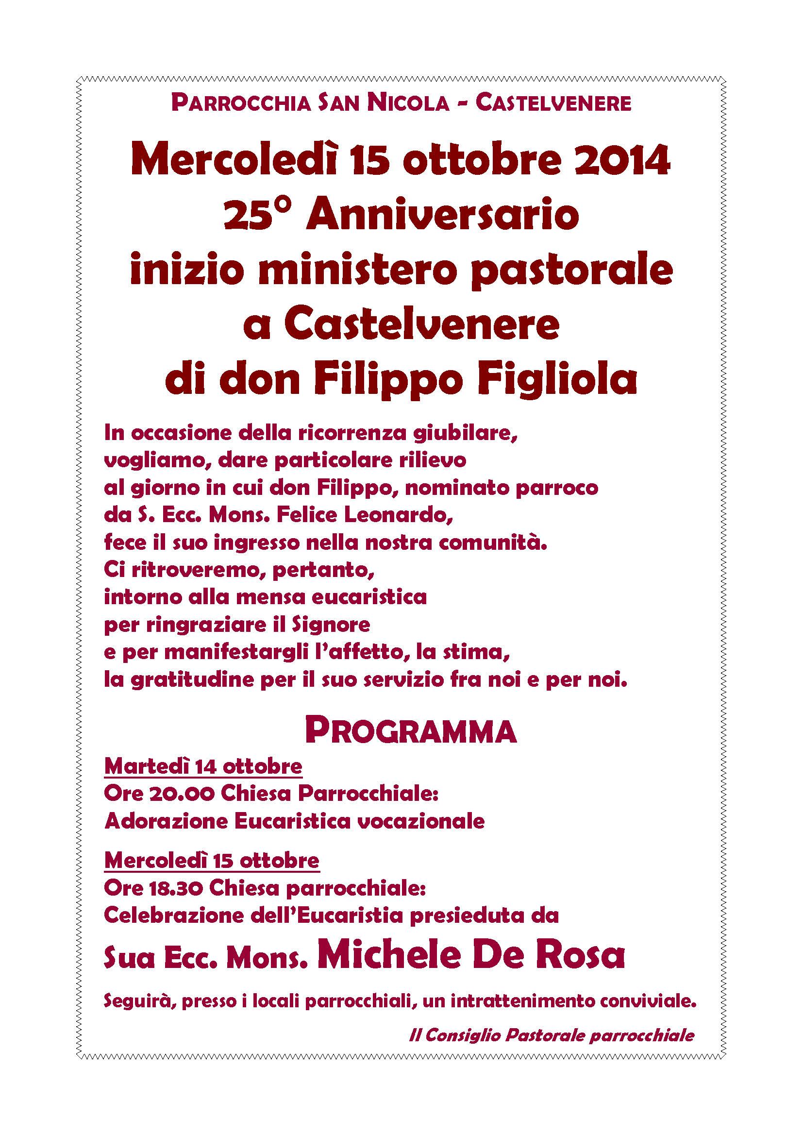 25° Anniversario dell'inizio del ministero pastorale a Castelvenere di don Filippo Figliola