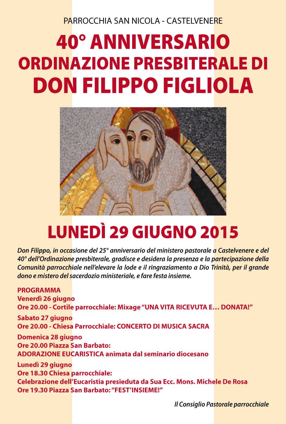 40° Anniversario Ordinazione Presbiterale di don Filippo Figliola