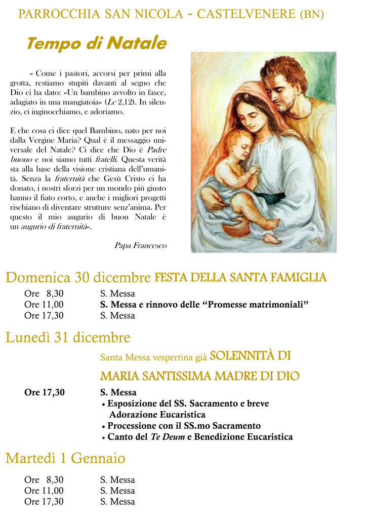 Tempo di Natale Natale 2018 - Sacra Famiglia Madre di Dio