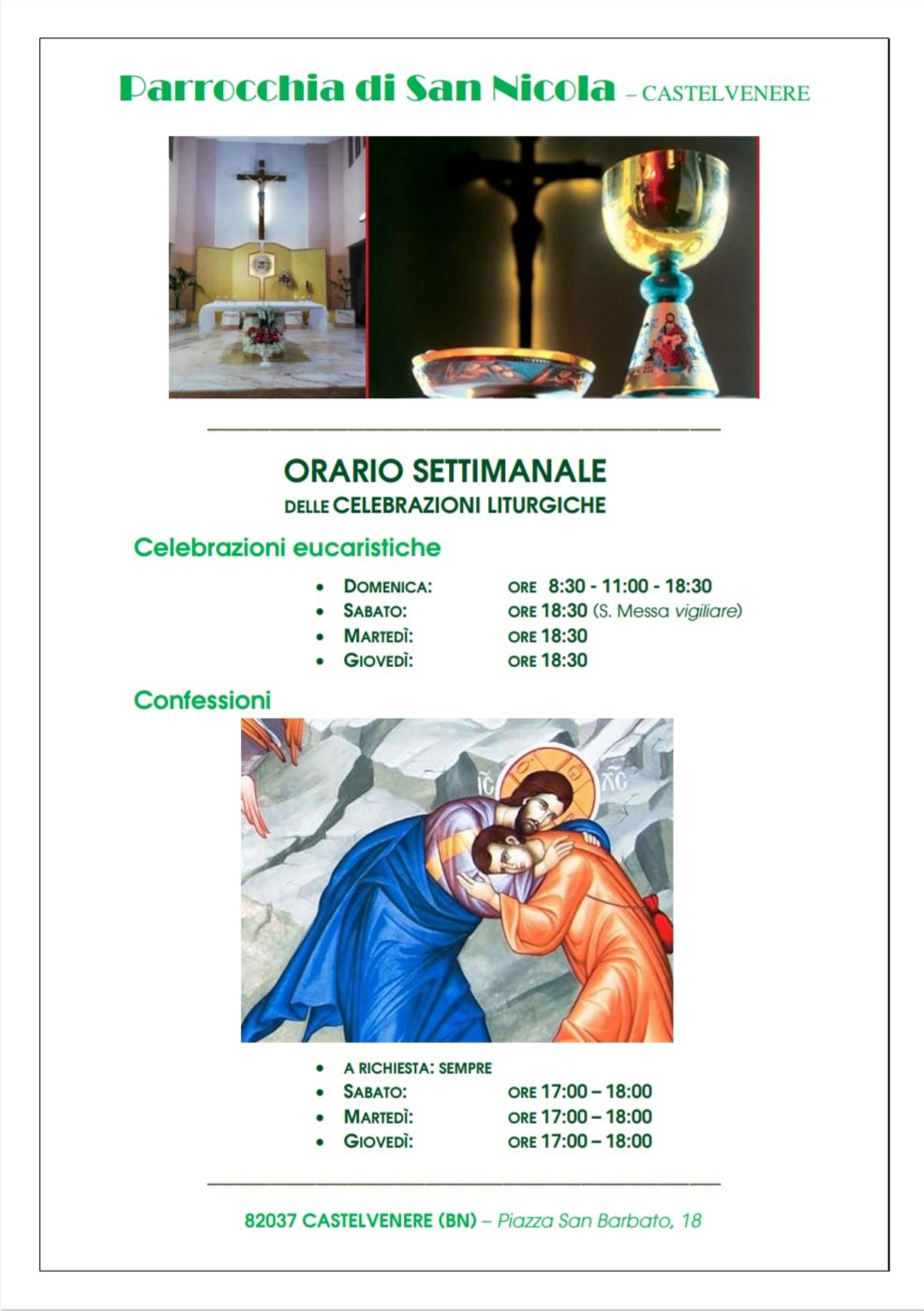 Orario settimanale delle Celebrazioni Liturgiche