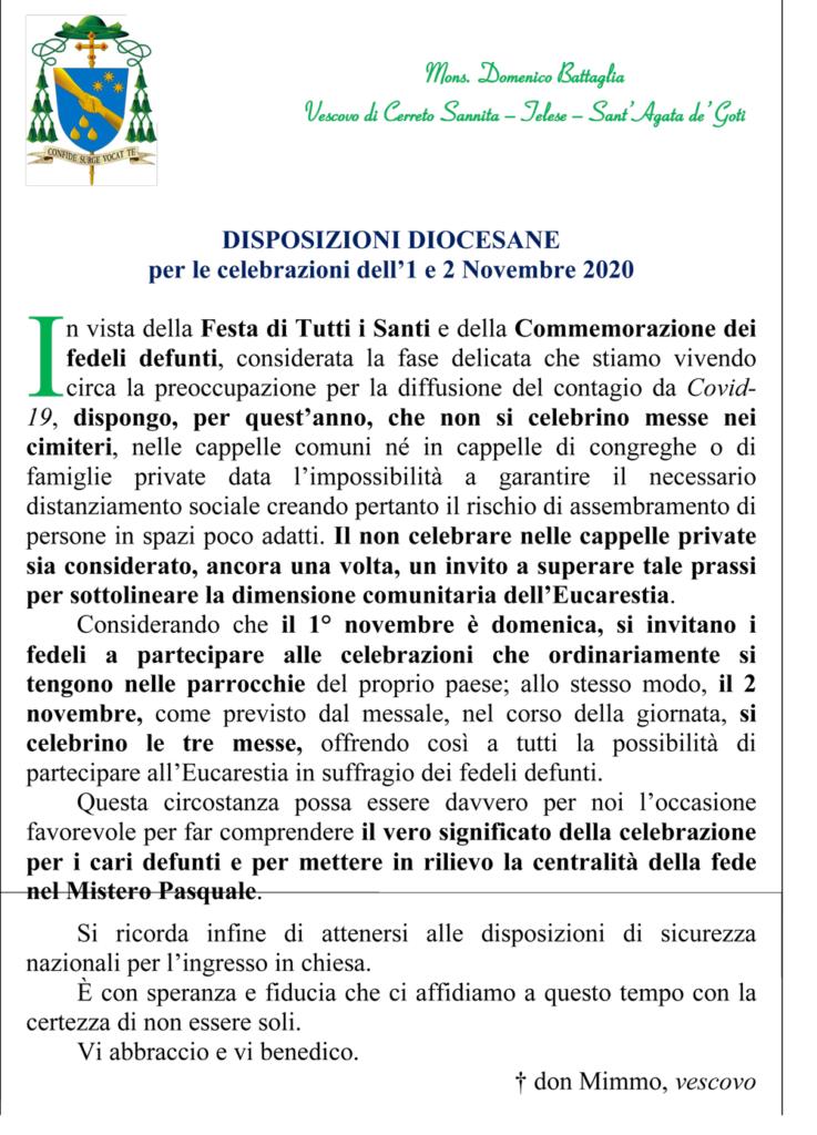 Disposizioni Diocesane per le celebrazioni dell'1 e 2 Novembre 2020